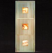 Дверь деревянная с гималайской солью №3 (кедр, липа) для бани и сауны 1880*680 мм