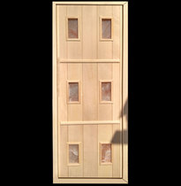 Дверь деревянная с гималайской солью №6 (кедр, липа) для бани и сауны 1880*680 мм