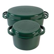 Духовка голландская чугунная зеленая круглая Big Green Egg для гриля, 4 л