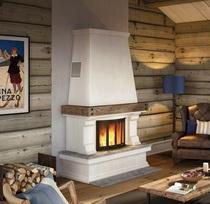 """Finse высокая (Nordpeis) с деревянной балкой и полкой из нат. мрамора """"Ruivina"""" облицовка каминная"""