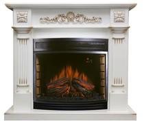 Портал Florina D28 белый дуб, патина золото 1250х1080х380 (Royal Flame)
