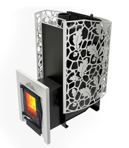 Печь для бани КАСТРАМА 3.0 с закрытой каменкой и карманами для камней, чугунная дверка со стеклом ДТ-4С