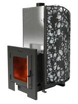 Печь для бани КАСТРАМА 3.0 Мини с закрытой каменкой, системой подачи воды, панорамной дверцей и карманами для камней