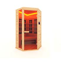 Инфракрасная сауна 1-о местная угловая (кедр) с керамическими излучателями, 105*105*200 см
