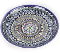Ляган синий плоский 32 см. Риштан (блюдо для плова Узбекское малое)