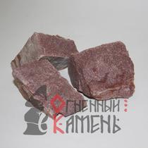 Камень для каменок Кварцит малиновый колотый 20 кг.