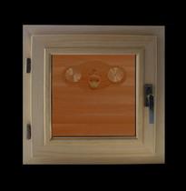 Окно деревянное (кедр) для бани и сауны, стеклопакет бронза, 300*300 мм