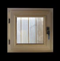 Окно деревянное (кедр) для бани и сауны, стеклопакет прозрачный, 300*300 мм