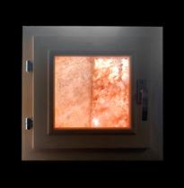 Окно деревянное (кедр) для бани и сауны, с гималайской солью, 350*350 мм
