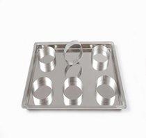 Противень для жарки (нержавеющая сталь AISI 304; 1,5 мм) в комплекте с кольцами 6 шт