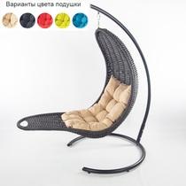 Подвесное плетеное кресло-шезлонг RECLINER (черный)