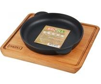 Сковорода чугунная HoReCa 180*25 с деревянной подставкой, Украина (BRIZOLL)
