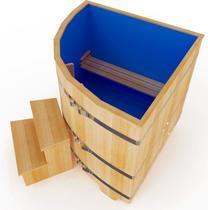 Купель кедровая угловая с пластиковой вставкой, 120*110*110*4 см